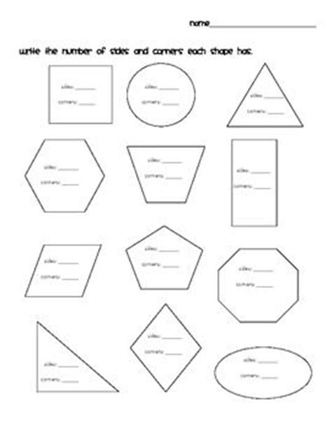 worksheets with shapes first grade shapes sides and corners first grade worksheets