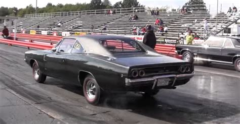 Dodge 1 4 Mile by 1 4 Mile Drag Race Between A 1968 Dodge Charger R T And