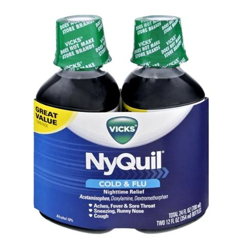 Nyquil Cold Flu Nighttime Relief Liquid vicks nyquil original flavor nighttime cold flu relief