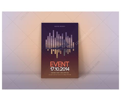 template of posters with business card modern event flyer template psd for exhibition curtural
