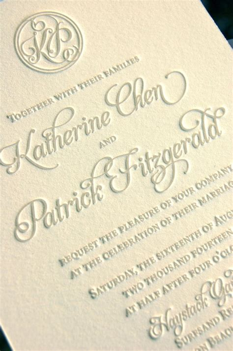 Wedding Invitations Letterpress by Monogram Wedding Invitations Letterpress Invitations