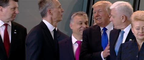 donald trump pushed awkward moment when trump pushes a prime minister at nato