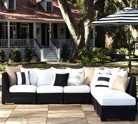 pottery barn outdoor sofa pottery barn black wicker sectional decoist