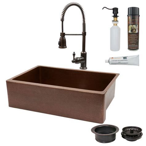 Antique Kitchen Sink Premier Copper Products All In One Undermount Copper 33 In 0 Single Basin Kitchen Sink In