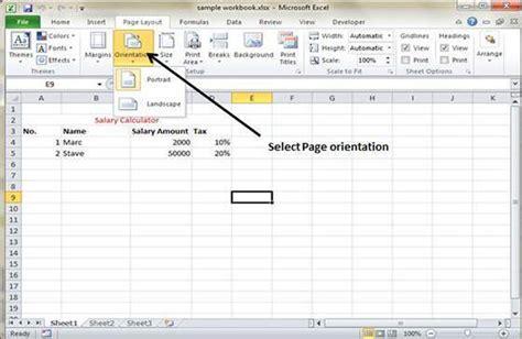 Landscape Orientation Excel Page Orientation In Excel 2010