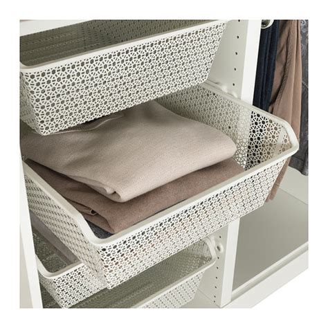 ikea wardrobe baskets komplement metal basket with pull out rail white 50x58 cm