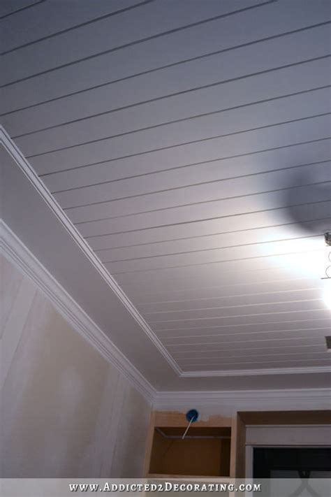 painted wood ceilings my finished room ceiling painted wood plank ceiling
