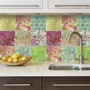 Kitchen Backsplash Decals adhesivo azulejo mosaico floral