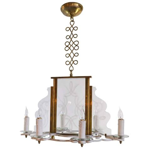 Glass Panel Chandelier Vintage 1960s Six Candle Chandelier With Decorative Etched Glass Panels For Sale At 1stdibs