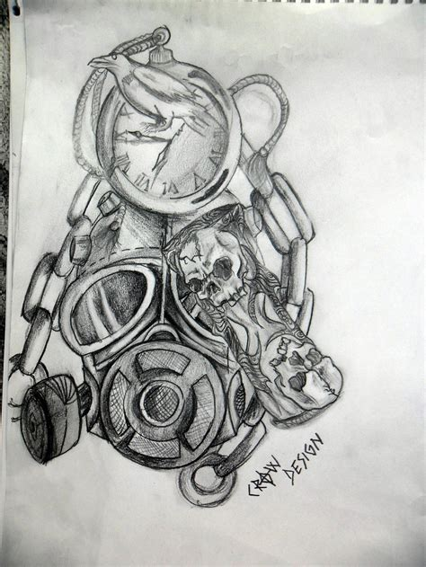 time tattoo ideas gas mask and time design by zacrow on deviantart