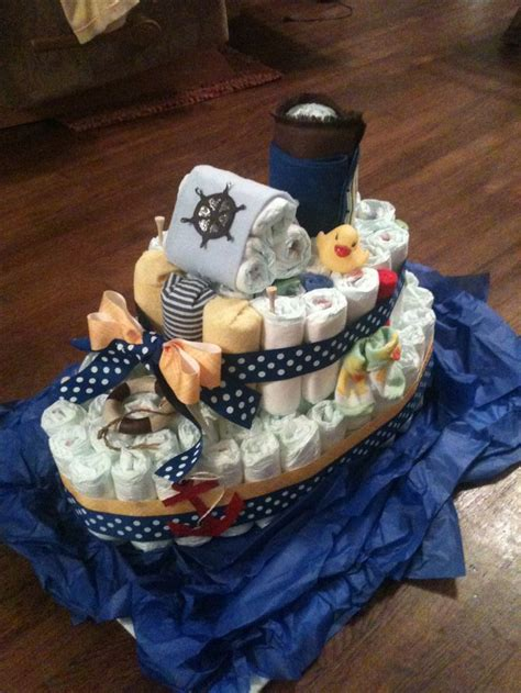 how to make a boat shaped diaper cake nautical theme my first diaper quot boat quot cake a fun break