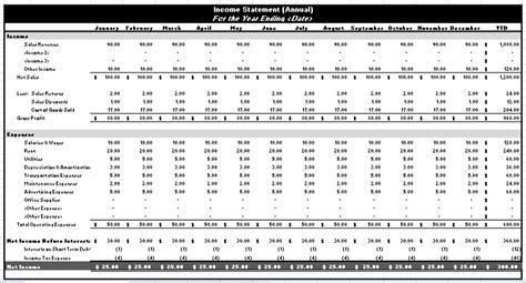 income statement template excel income spreadsheet income