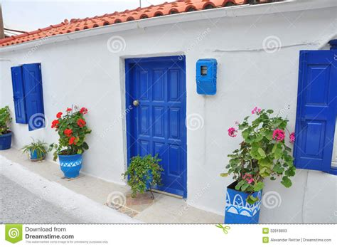 House Plans European typical greek house on samos stock image image of blue