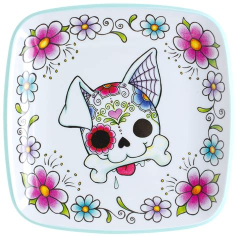 Kitsch Home Decor sugar skull dog plate sourpuss clothing