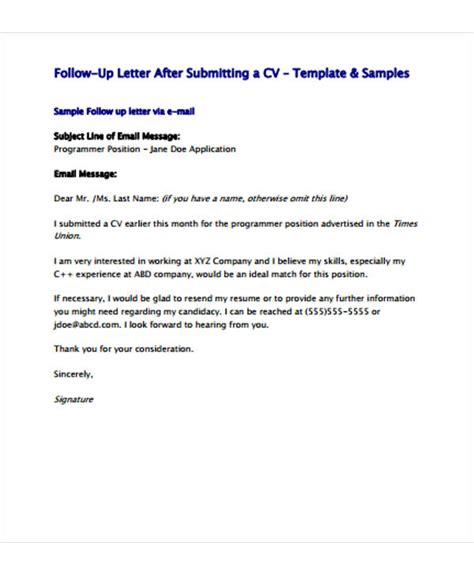 resume follow up letter template follow up letter template 9 free sle exle format