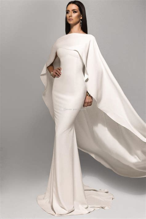 Cape Sleeve Wrap Dress cape sleeves wrap white satin arabic evening dresses 2017