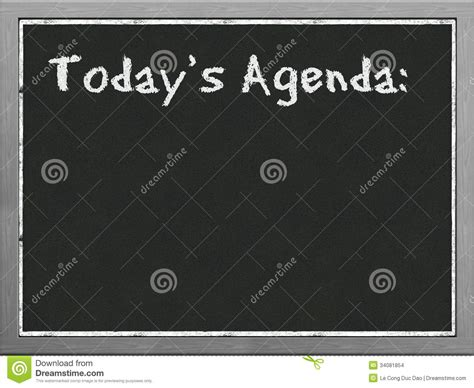 today s black board showing agenda stock images image 34081854