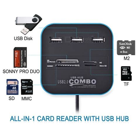 Card Reader Combo Multi Usb Hub 20 Sd Mmc Ms M2 Microsd goojodoq 3 port usb hub card reader multi usb 2 0 splitter