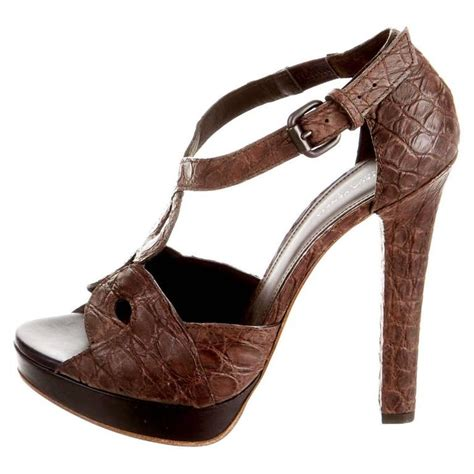 chocolate brown high heel boots bottega veneta chocolate brown crocodile high heel sandals