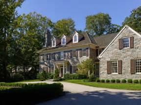 Copper Kitchen Lighting by Bryn Mawr Stone Colonial Traditional Exterior