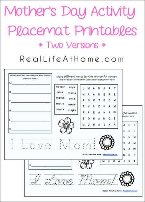 activities for s day s day activity placemat free printables