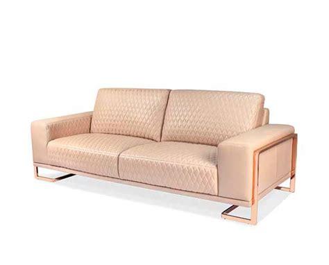 rose sofa aico leather sofa with rose gold metal trim leather sofas