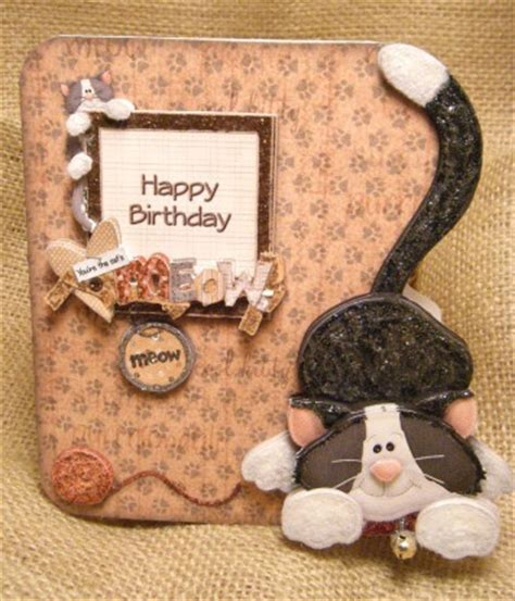 Handmade Cat - handmade greeting card cat s meow 3d birthday card