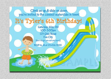free printable birthday invitations water waterslide birthday invitations water slide birthday