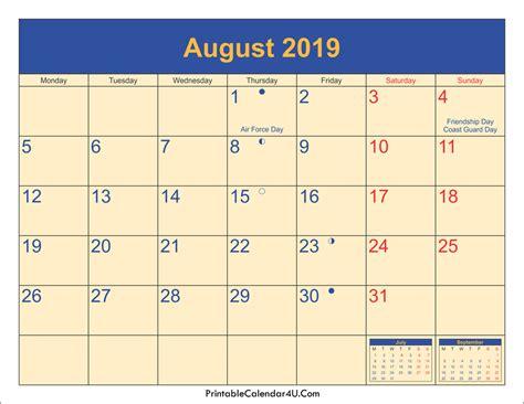 august  calendar  printable calendar yearly