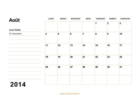 Calendrier Juillet Aout 2014 Calendrier Ao 251 T 2014 224 Imprimer Gratuit En Pdf Et Excel