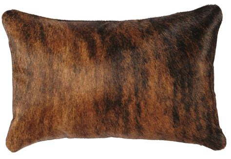 brindle hair on hide leather throw pillow 12 x 18