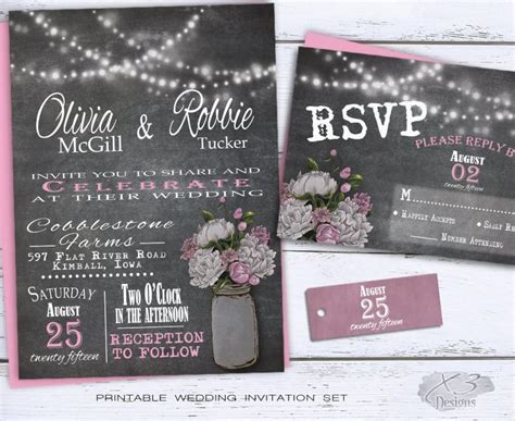 mason jar chalkboard wedding invitation set rustic