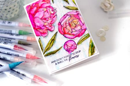 Promo Kulot Waffle Zigzag watercolor peonies with zig clear color real brush markers by stainton the classroom
