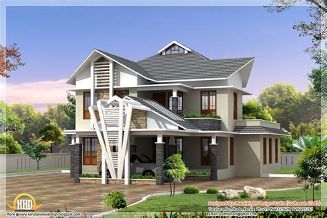 2850 house front 2 different 3d home elevations kerala home design and floor plans