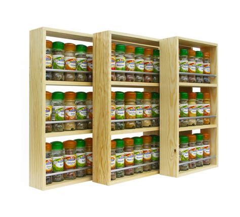 Solid Pine Spice Rack 3 Shelves Kitchen Worktop Wall Spice Racks For Bookshelves