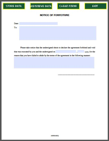 forfeiture notice template notice of forfeiture free fillable pdf forms free