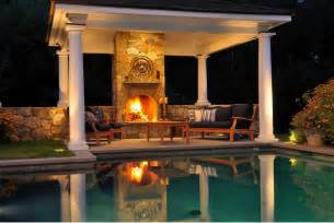 Amazing Outdoor Fireplaces - backyard landscaping design ideas swimming pool fireplaces