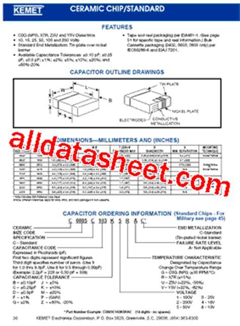 kemet capacitors datasheet c0603c104k5rac datasheet pdf kemet corporation