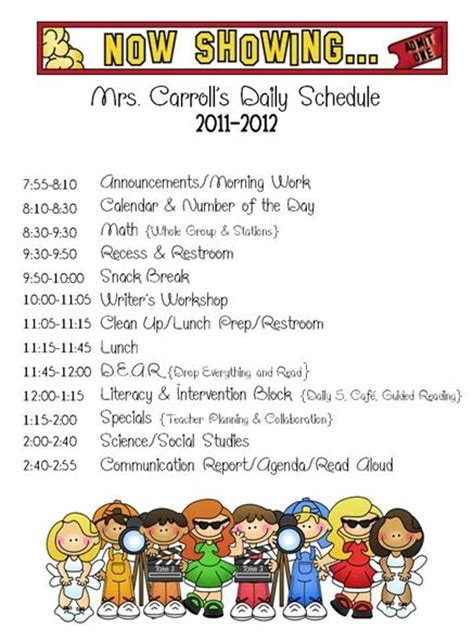 Cute Daily Schedule Classroom Schedule Routines Pinterest First Day Of School Back To Second Grade Schedule Template