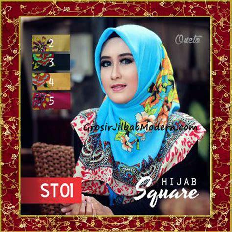tutorial hijab segi empat motif bunga jilbab segi empat terbaru bahan tierack st05
