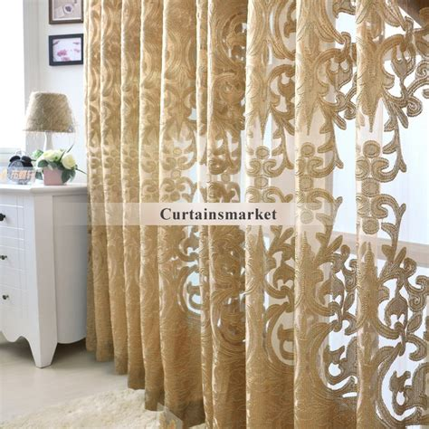 Gold Sheer Curtains Beautiful Yarn Patterned Semi Gold Sheer Curtains