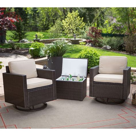 Outdoor Wicker Resin 3 Piece Patio Furniture Set with 2