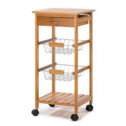 Rolling Cart For Kitchen Osaka Bamboo Wood Rolling Utility Kitchen Cart Rack