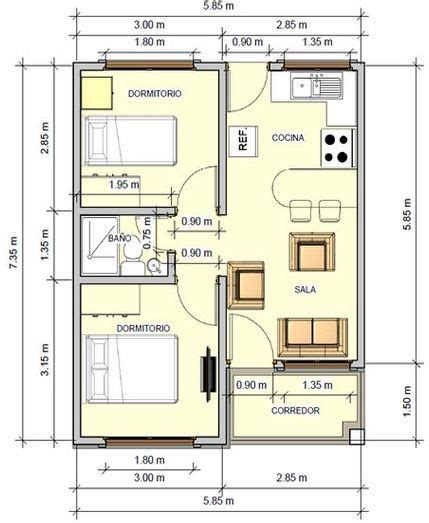 planos de casas pequenas pictures to pin on pinterest tradicional plano de casa de 43 5 m2 con 2 dormitorios