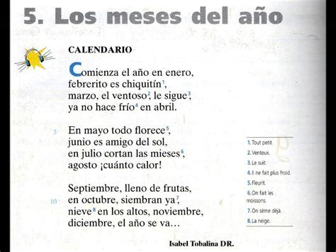 Calendario Cancion Calendario Poema Los Meses A 241 O