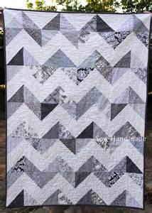 sew handmade gray white chevron quilt
