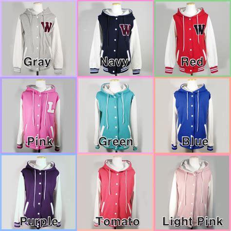 Jaket Hoodie Deus Import Quality 4 womens new varsity hoodie baseball jacket xs s m l xl