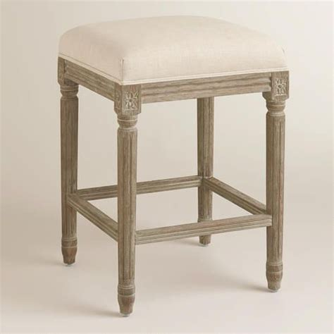 Mudhut Andres Counter Stool by Linen Backless Counter Stool Linen