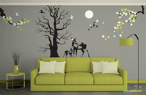 Wall Stickers Create Your Own free wall mockup psd zippypixels