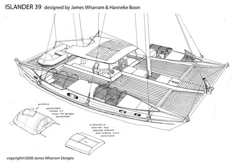 catamaran drawing tiki catamaran plans plan make easy to build boat